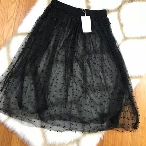 Zara TRF Tulle Black Midi Skirt Pearls Medium